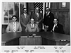 Black and white image of commissioners of the 1970s
