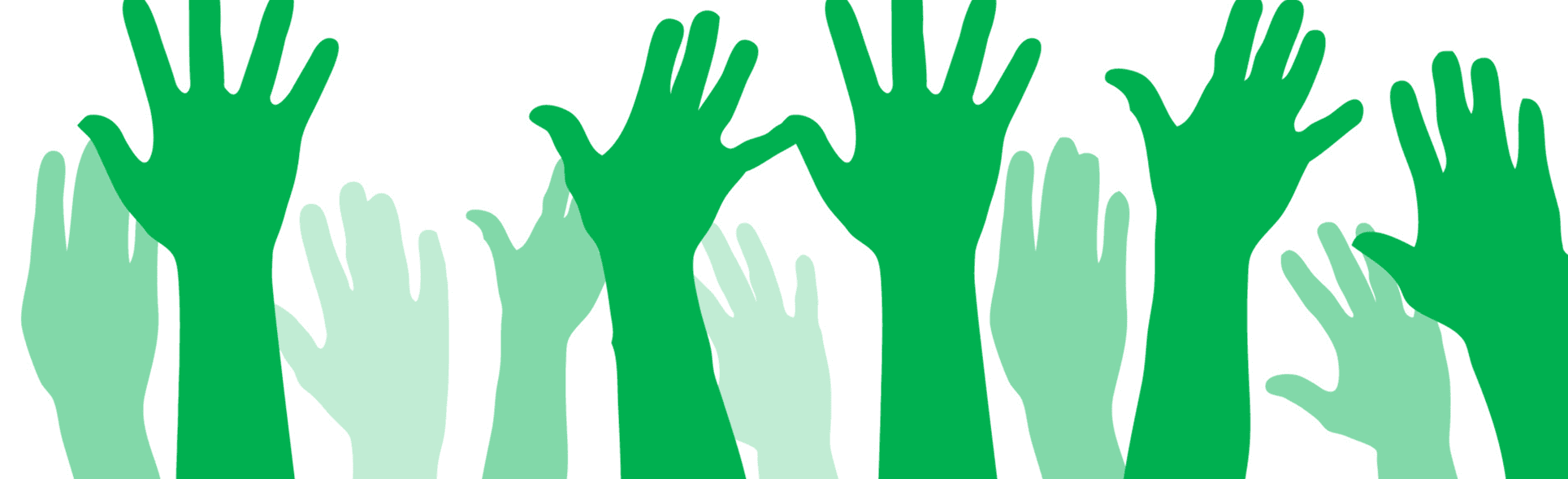 Image of the silhouettes of green Hands